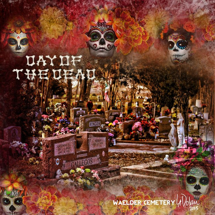 """My Day of the Dead digi page. My personal photo and Xquizart's """"Day of the Dead"""" art dolls and paper. All from DeviantScrap.com"""