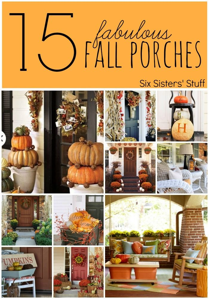 15 Fabulous Fall Porches from SixSistersStuff.com. Look no further for fall decorating inspiration! #homedecor #fall #porches