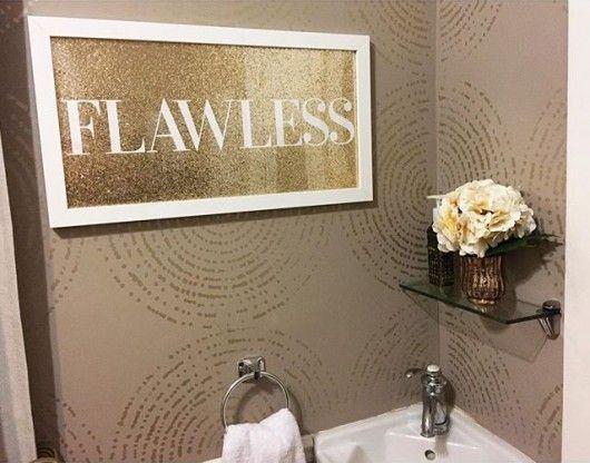 A diy stenciled bathroom wall using the resonance wall art stencil from cutting edge stencils in