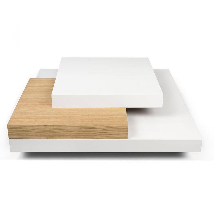 MESA DE CENTRO MADERA NATURAL 90X90X30,Panel alveolar de madera (compuesto por MDF, aglomerado de madera y cartón),Multicolor   deco