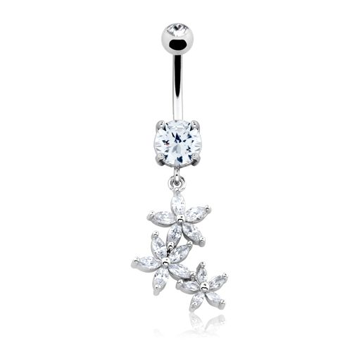 Blossom Flower Gem Cascade Belly Button Ring 14ga Navel Ring Body Jewelry Dangling
