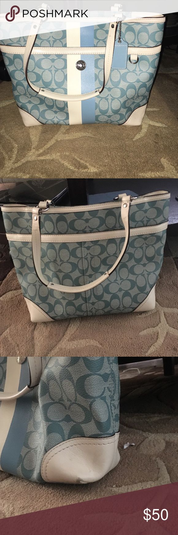 """Blue and white authentic coach tote bag Authentic blue and white coach tote bag perfect for the summer! Lightly used. Very small marks in the bottom corners and inside bag shown in pictures. 13"""" (L) x 11"""" (H) x 4"""" (W) Coach Bags Totes"""