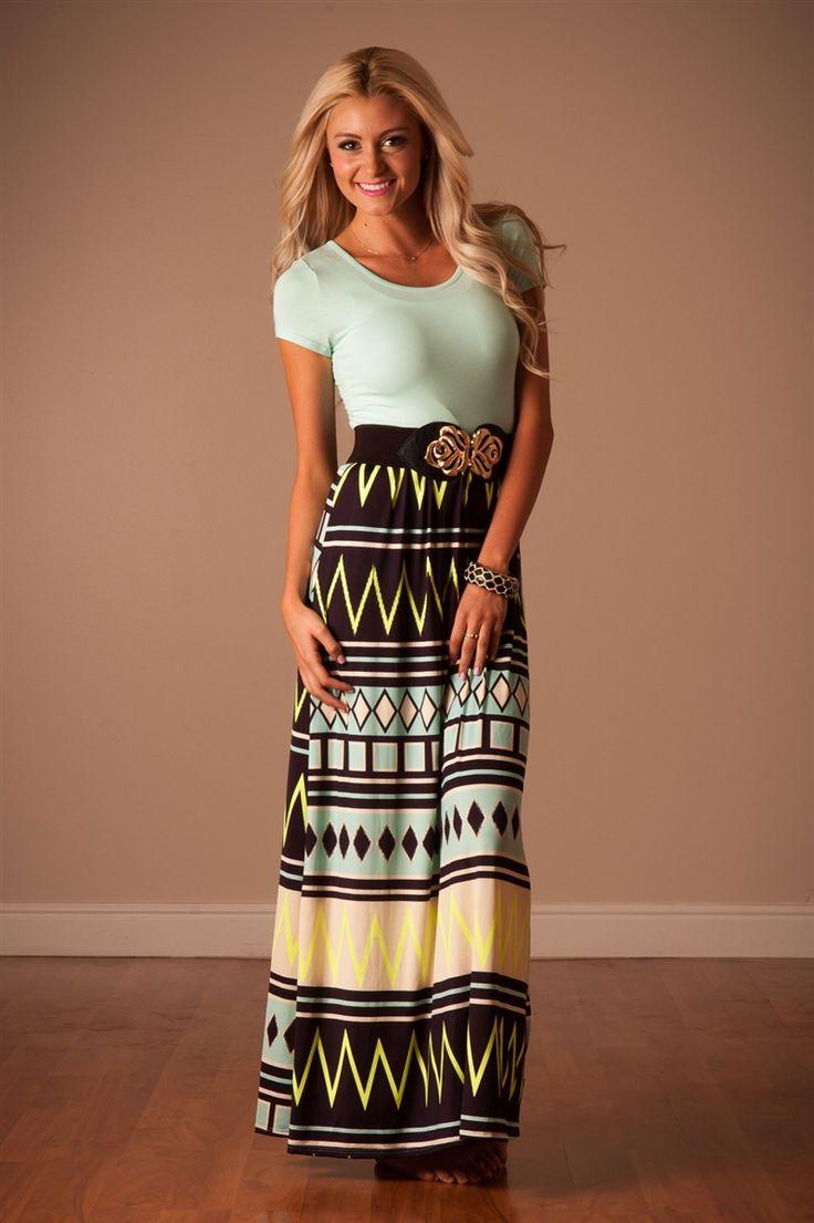 Mint Navy Aztec Maxi Dress | Affordable Modest Boutique Clothes for Women | Trendy Modest Church Dresses