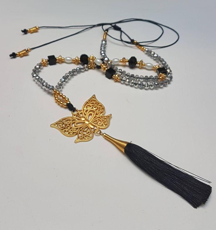 Quiero compartir lo último que he añadido a mi tienda de #etsy: Collar Largo Colgante de Mariposa y Borla . Material Cristal Electrochapado. Boho Style http://etsy.me/2naobk5 #joyeria #collar #negro #no #mujer #si #animales #navidad #boho