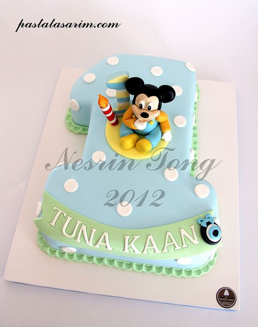 BABY MICKEY MOUSE 1ST BIRTHDAY CAKE by CAKE BY NESRİN TONG, via Flickr