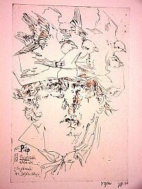 """Horst Janssen, """"Spatzen des Hokusai"""" Nr. 63"""
