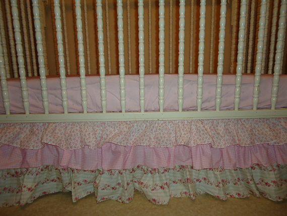 Pink Gingham Crib Skirt 34