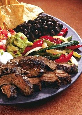 """Mexican Fiesta Chili's Style Beef Fajitas // yummy option for game day, only 230 calories per generous serving via Marlene Koch's """"Eat What You Love"""" Cookbook #superbowl #appetizer #healthy"""