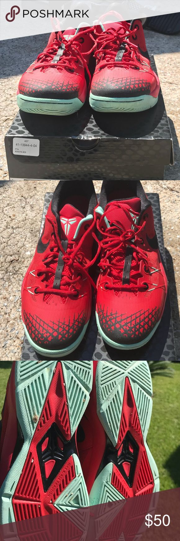 Kobe Venom Size 12 Men Red & Black Kobe Basketball Shoes. 2014.  Good/ Great condition. Nike Shoes Sneakers