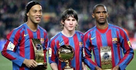 No hay quien los pare  Premiados: Ronaldinho, Messi (con el trofeo de Tuttosport) y Eto´o