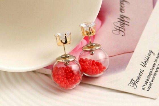 Shopo.in : Buy Red Glass Ball Earrings online at best price in Kolkata, India