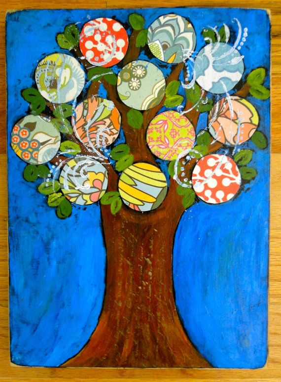Tree Art by buttonbirddesigns on Etsy, $34.00 I LOVE THIS!