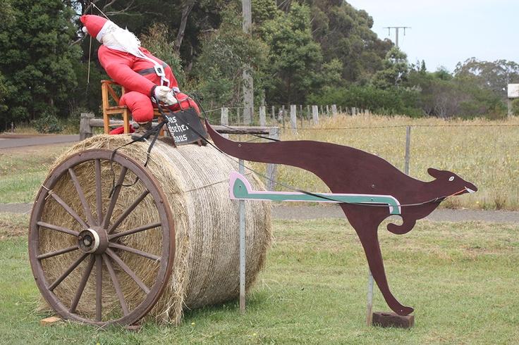 Farmer Christmas on his haybale and flying kangaroo