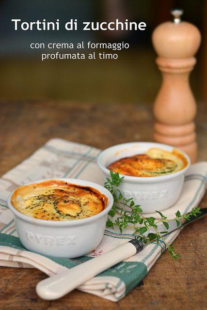 tortini di zucchine con crema al formaggio - zucchini quiche with cheese sauce