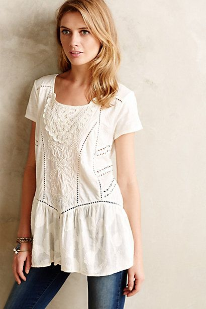 Pintucked Peasant Top #anthropologie