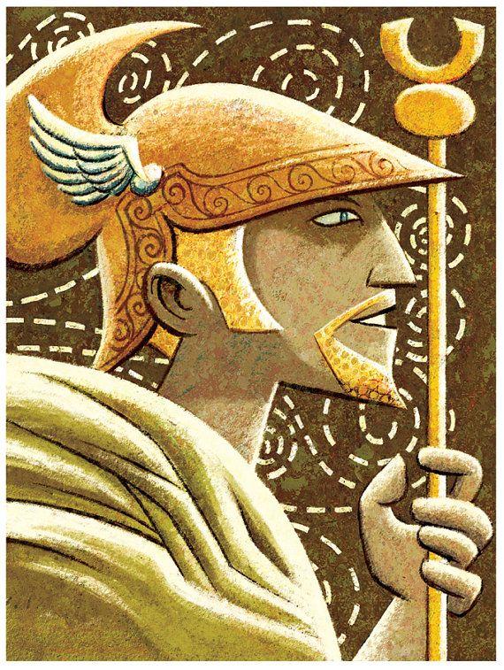Dioses griegos Hermes 8 x 10 Print por glenmullaly en Etsy