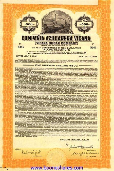 booneshares.com > Auction Catalogue  No.55 / Compania Azucarera Vicana (Vicana Sugar Co.), 6% Income Debenture of $500 1.7.1935 / AZP3CU033