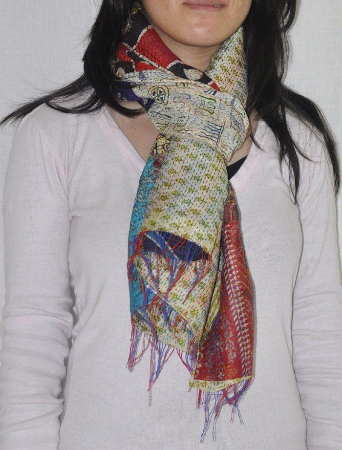 "Indian Silk Women's Stole Dupatta Vintage Patchwork Neckwear Wrap Scarves 20x70"" #Lalhaveli #Stole"
