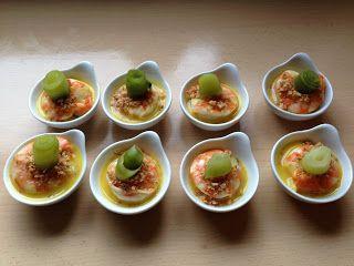 Scampi met sinaasappelmarinade, saffraanroom, Indische crumble en gepekelde komkommer - ElekeNogEsZingen !