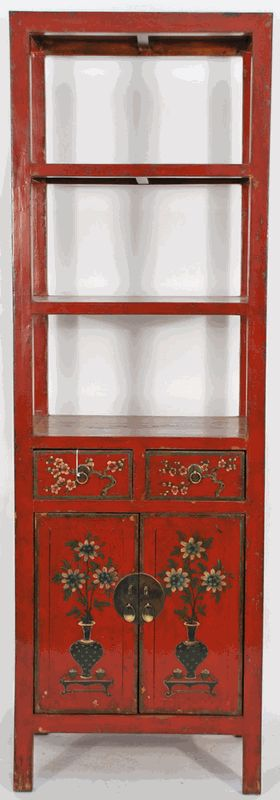 Asian Furniture: Asian-Inspired, Hand-Painted Book Case from China