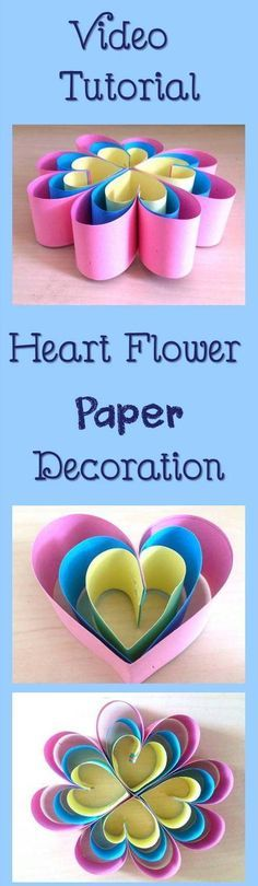 Christmas DIY: How to Make Simple H How to Make Simple Heart Flower Paper Decoration #christmasdiy #christmas #diy