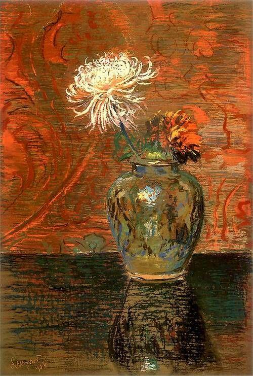 """Chrysanthemums in a Vase"" by Leon Wyczólkowski"