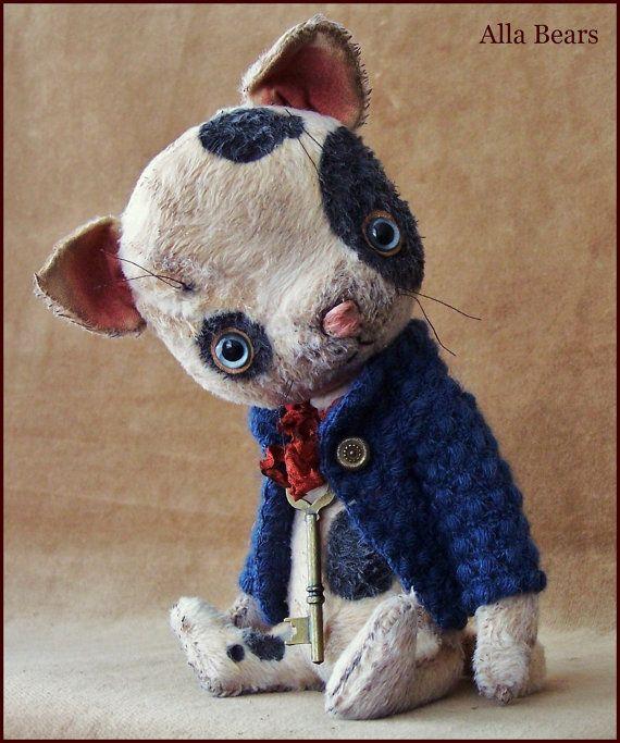 """von Alla Bären 8,5"""" Zoll Cat original Künstler Ooak Vintage Sammler handgefertigte Baby Kunst Puppe Spielzeug Whimsical viktorianisch pet Wollpullover"""