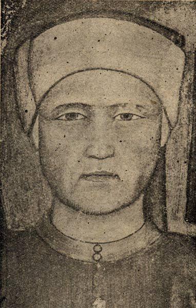 Джованни Боккаччо. Фрагмент фрески, изображающей церковь и доминиканцев. Андреа Бонайути. Санта Мария Новелла во Флоренции (около 1365)  Giovanni Boccaccio