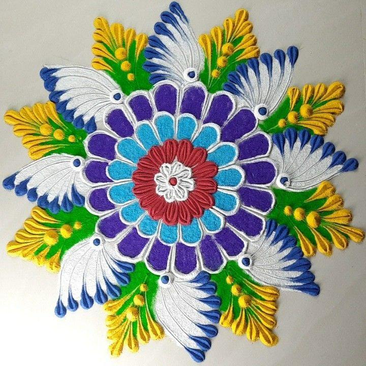 Multi petals rangoli (easy) in 2020 Free hand rangoli