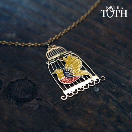 Slovakian Folk Bird in Golden Cage by Petra Toth Jewellery.
