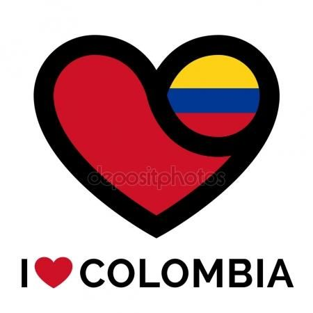 Heart Colombia icon with flag concept Vector De Stock