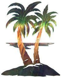 I love outdoor metal wall art. It is an amazing way to decorate your backyard or outdoor space. I love the look of metal outdoor art especially when you have pretty metal flowers, butterflies, suns, moons and all kinds of trendy shapes, colors and designs. #outdoordecor #decor   Thirstystone Palm Tree Wall Art, modern outdoor metal decor