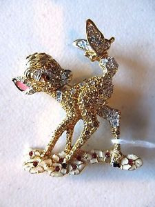 Very Rare Disney Swarovski Crystal Bambi PIN Brooch Vintage 1942 Rhinestone COA | eBay