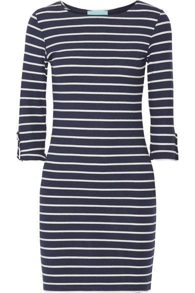 Melissa Odabash - Maddie Striped Ribbed Stretch-jersey Mini Dress - Midnight blue - medium