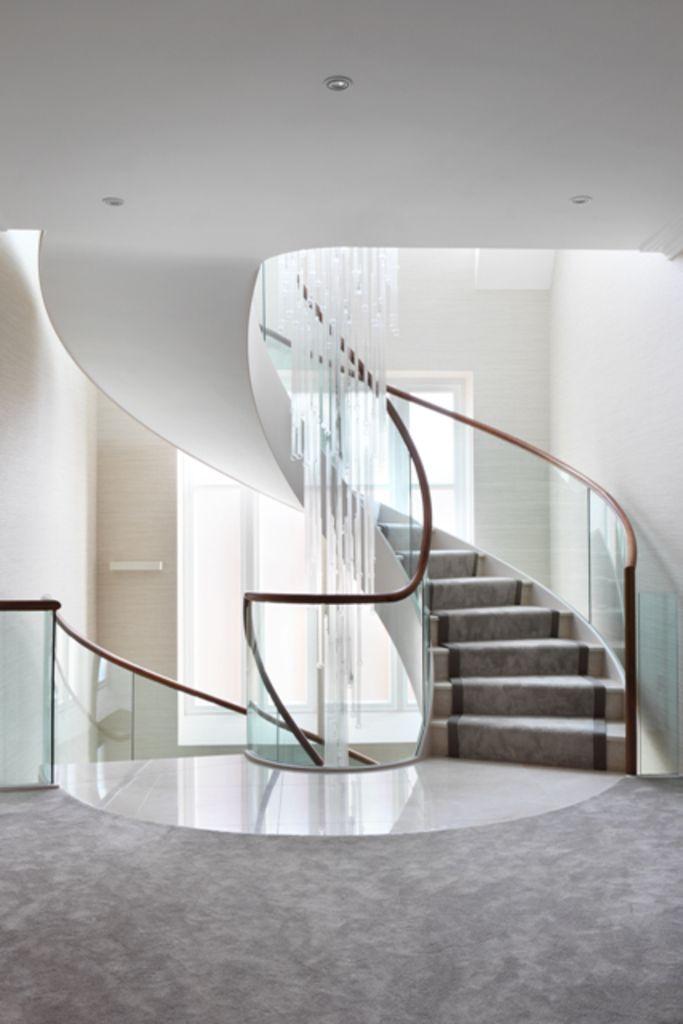 Best Elegant Spiral Staircase Glass Ballustrade Marble 640 x 480