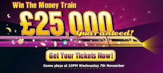 Moon Bingo Big Game Money Train! You Don't Want To Miss This One! Get your tickets on board now Train Leaving pm Friday 1ST November £20,000 guaranteed to be shared by three lucky winners in this Huge 90 ball mega bingo jackpot Game. Get £30 To Play With here right now for only a £10 purchase! 2 days of FREE BINGO winning real cash as a second bonus for new members! Find us online for many more Freebies. Good luck in your games initto-winit http://www.initto-winit.com/bingo/moon-bingo/