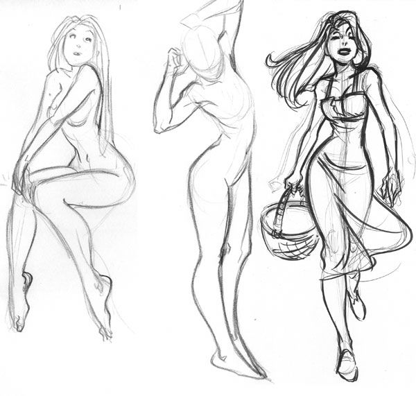 Female Pose Sketches. I like these poses, very nice and natural looking.