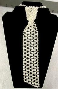 60 WOW Vintage Estate Jewelry Faux Pearl Neck Tie Necklace Like A Neck Tie | eBay