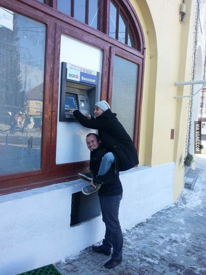 Truth Seekers caught this photo in Romania... Only giants can get their money out of the ATMs