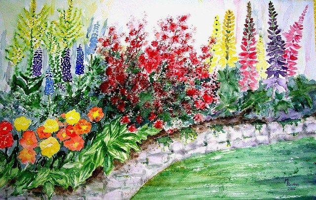 Menakjubkan 30 Gambar Lukisan Kaca Pemandangan Pemandangan Top Banget Taman Bunga Gambar Alam Bunga Bunga Indah