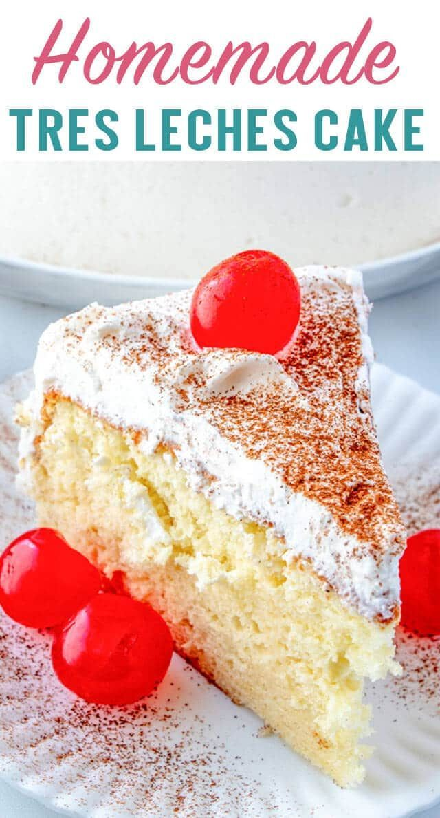 Fluffy White Cake With Whipped Cream This Rich Homemade Tres Leches Cake Has A Three Milk Combination Of Homemade Cake Recipes Homemade Cakes Tres Leches Cake