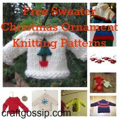 Cute sweater christmas ornaments! Free knitting patterns by Sarah E. White for Craft Gossip.