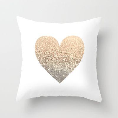 GATSBY GOLD HEART Throw Pillow