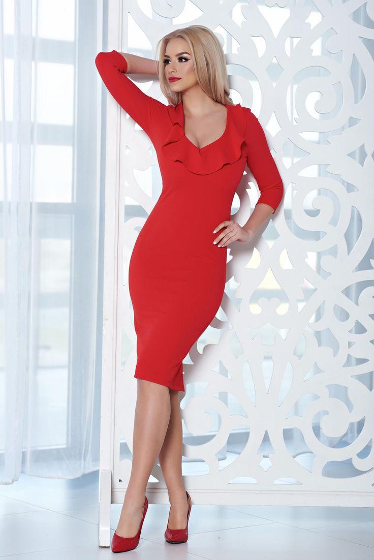 Comanda online, Rochie eleganta midi StarShinerS rosie cu decolteu. Articole masurate, calitate garantata!