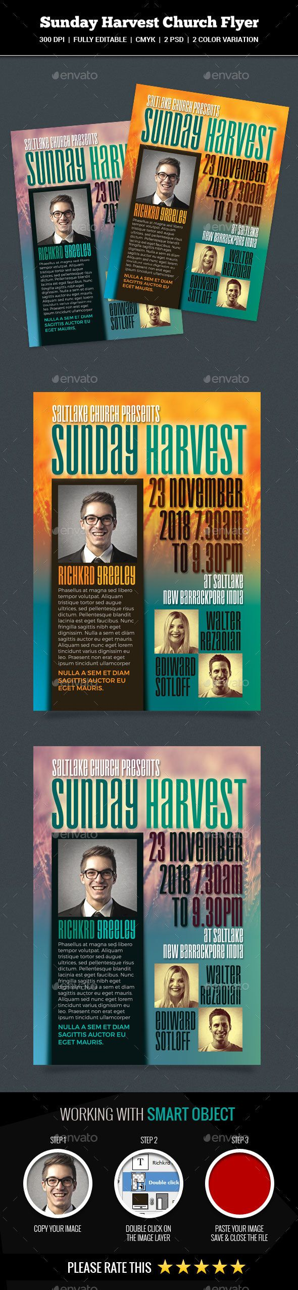 Sunday Harvest Church #Flyer - Church Flyers Download here: https://graphicriver.net/item/sunday-harvest-church-flyer/20325213?ref=alena994