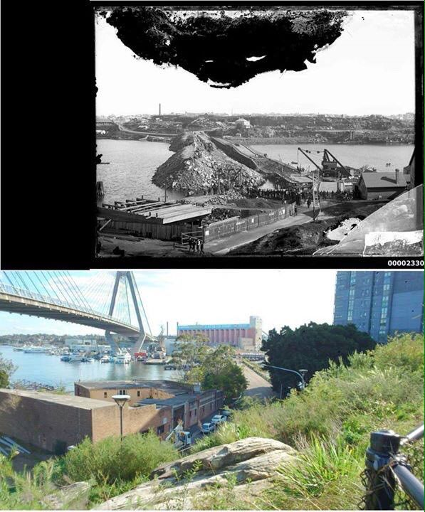 1st Glebe Island Bridge shown collapsed during const of 2nd one 1899>Anzac Bridge 2015 [Australian National Maritime Museum>UndrCarbonSkies]