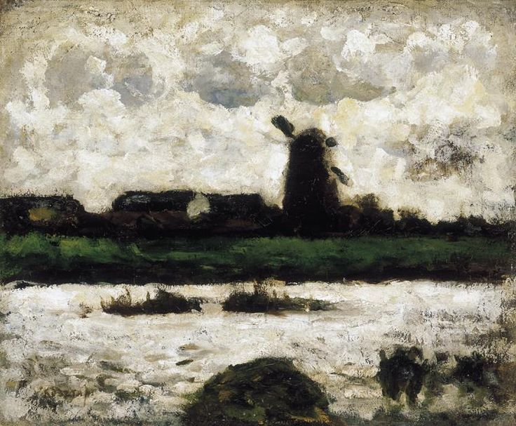 Joseph Kosta :: Plains :: windmill landscape of Hungarian Art Gallery