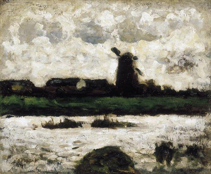 Joseph Kosta :: Plains :: windmill landscape of Hungarian Art Gallery