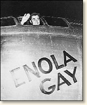 """In the early morning darkness of August 6, 1945 the B-29 """"Enola Gay"""" piloted by Colonel Paul Tibbets lifted off the runway at Tinian Island and flew into history. Approximately four hours into the flight, Col. Tibbets announced to his specially trained crew that they carried the world's first atomic bomb and that their target was Hiroshima."""