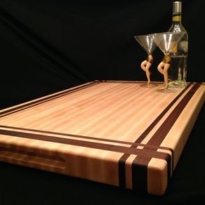 Large Rock Maple And Black Walnut Cutting Board by Nicholas  Henton